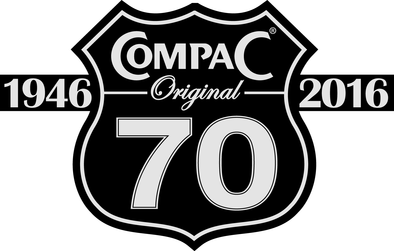 Compac 70 years logo black